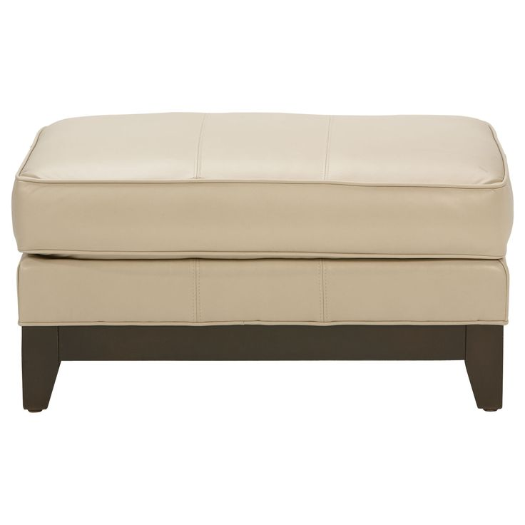 Arcata Leather Ottoman, Devine/ Bone - Ethan Allen US but in black to match the couch and then do a white fluffy rug