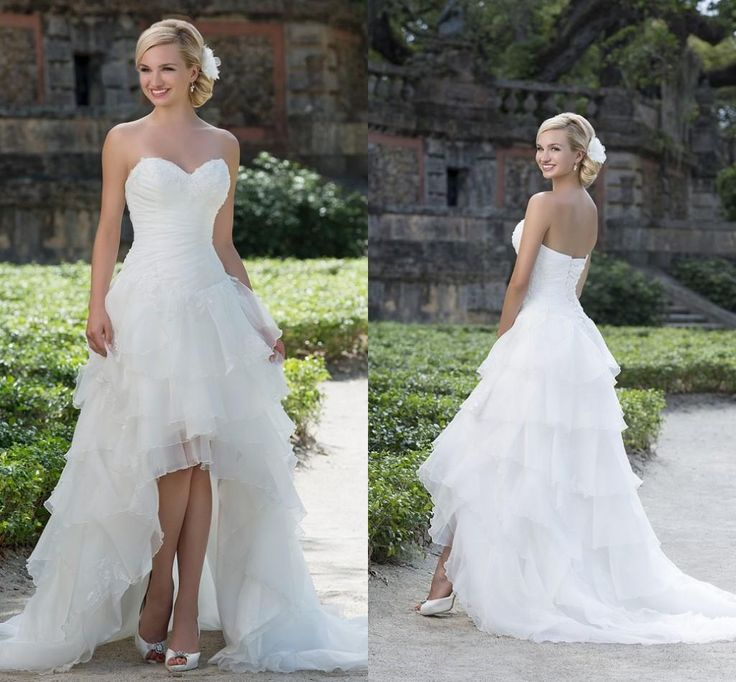Nice  New High Low Wedding Dresses Sweetheart Appliques Tiered Skirt A Line Hi lo Arabic