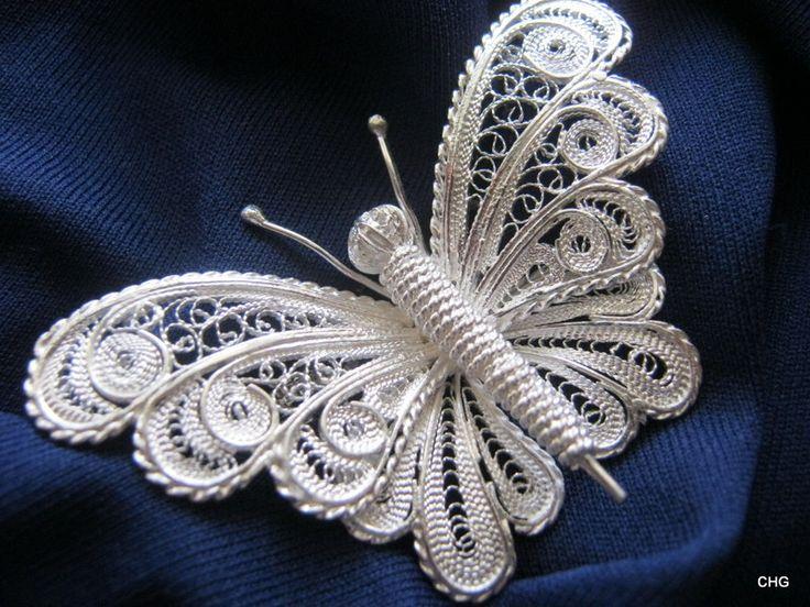 Handmade Silver Filigree Butterfly Pendant.