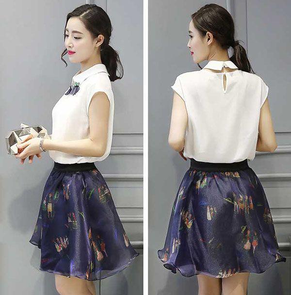 Baju Setelan Rok Pendek Wanita Korea Cantik dan Modis A3018