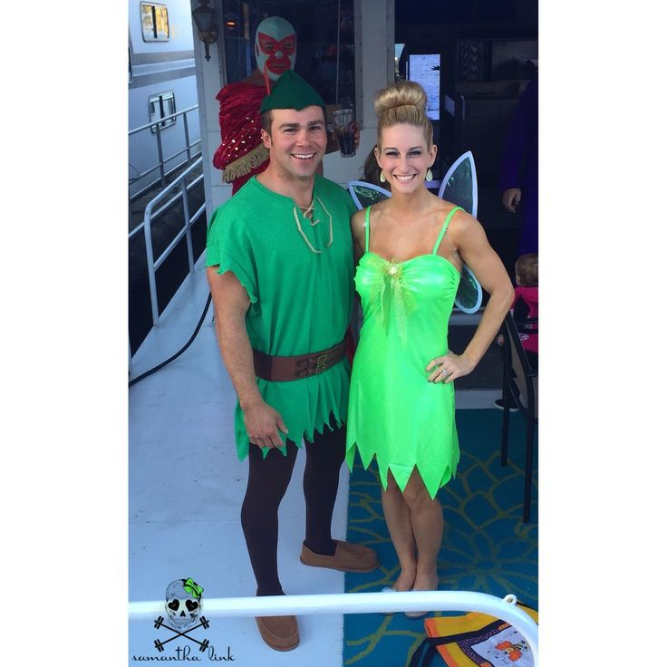 Adult Peter Pan and Tinkerbell Halloween costumes