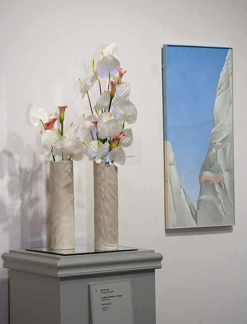 """Georgia O'Keeffe, """"Blue Sky,"""" interpreted by Virginia Orlando, Seed to Stem. """" I intend for my floral design to be a clear, simple representation of the piece but to be abstract enough to keep the viewer interested."""" Flora in Winter 2012, Worcester Art Museum."""