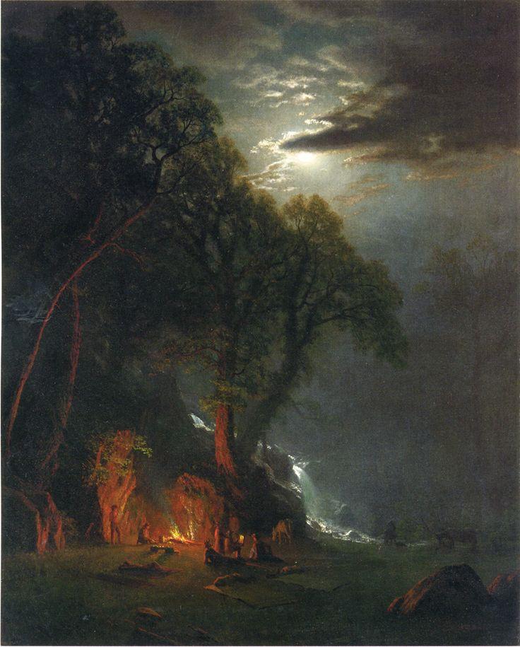 Albert Bierstadt (Hudson River School Painter, born in Germany, 1830-1902) -Campfire Site Yosemite