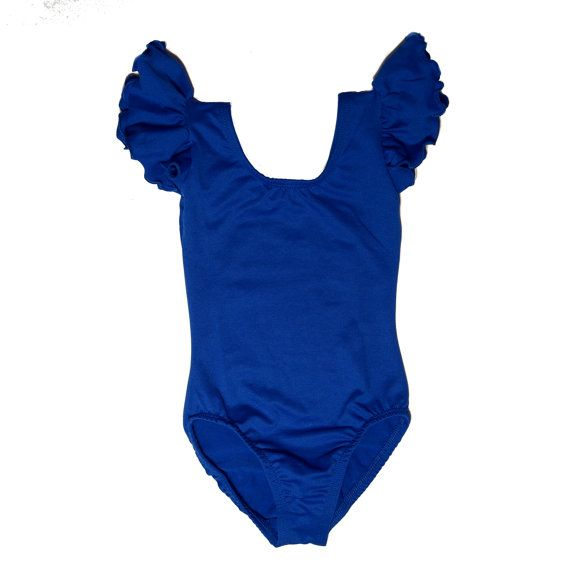 ROYAL BLUE Leotard for Toddler & Girls with Flutter / Ruffle Short Sleeve on Etsy, $15.00