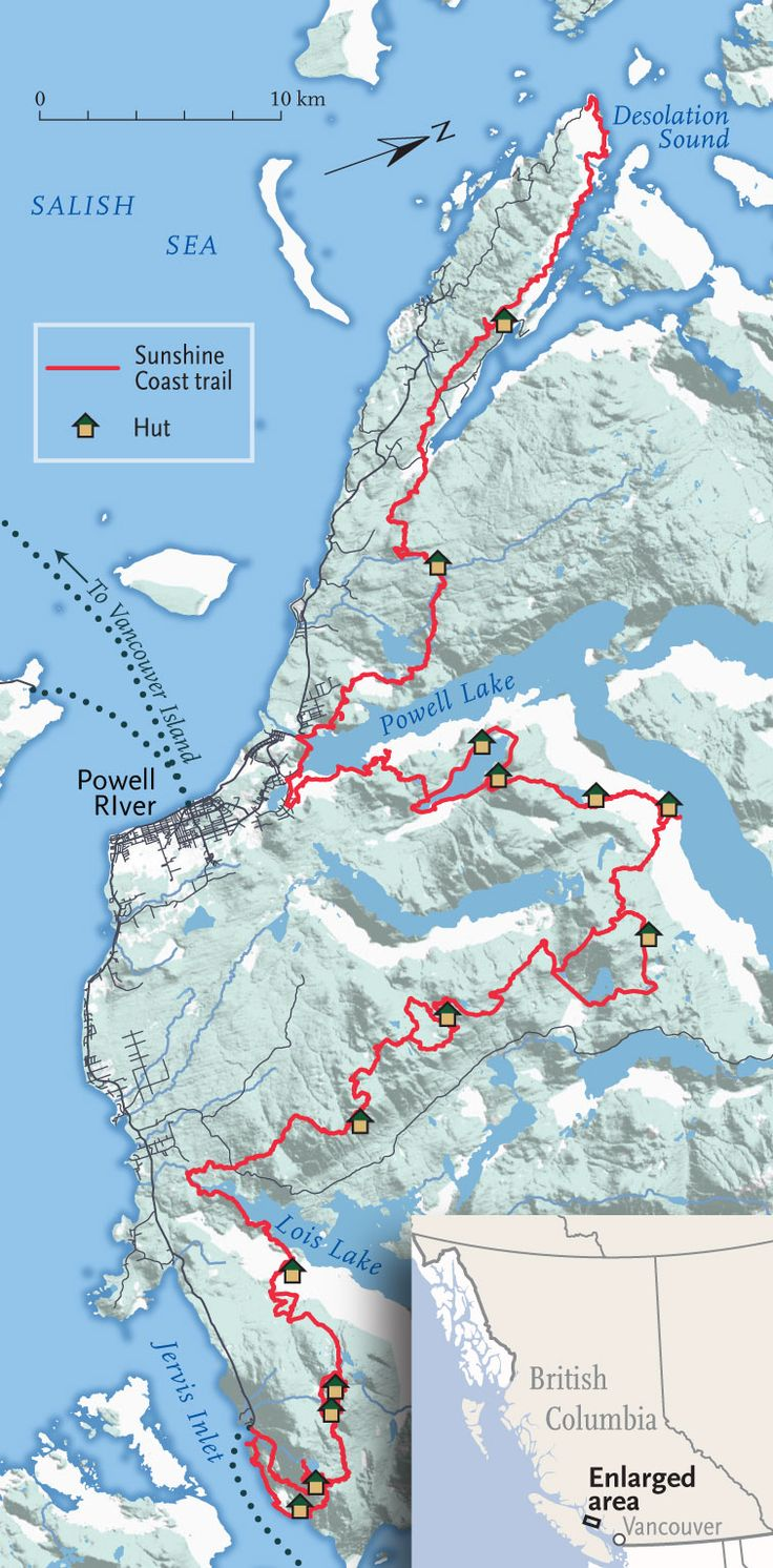 British Columbia's Sunshine Coast Trail celebrates its 25th anniversary this year, and what better way to mark the occasion than by planning to hike its 180 kilometres?With that in mind, here's a map of seven can't-miss spots on the trail, as suggested by Eagle Walz, the route's co-founder. Roll over each point for additional information on why Walz ranks the spot as a favourite.