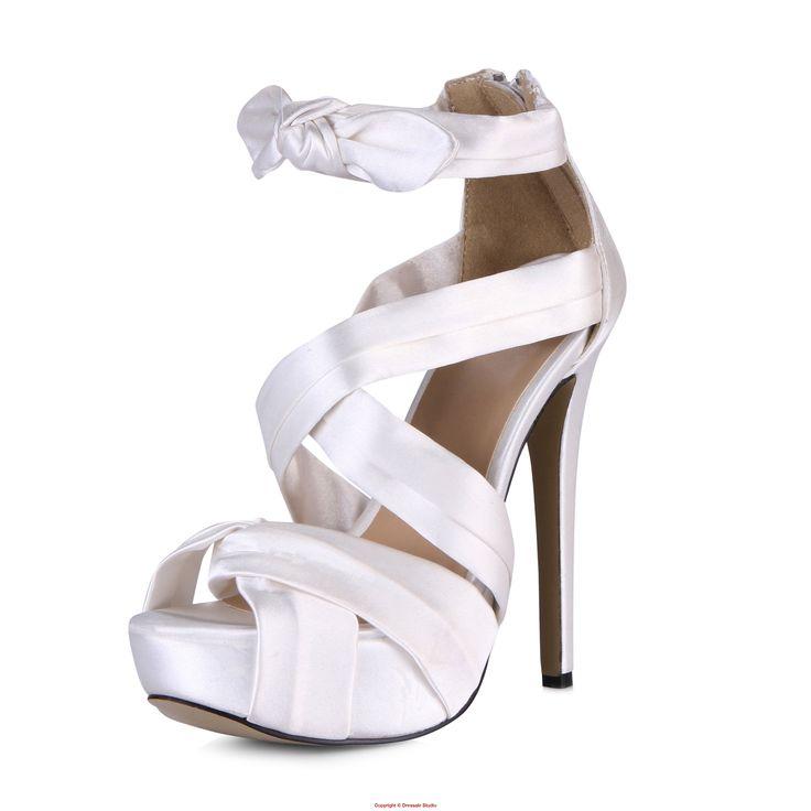 Feminine Strappy Crisscross Platform Stiletto Heel Sandal with Self-tie Closure