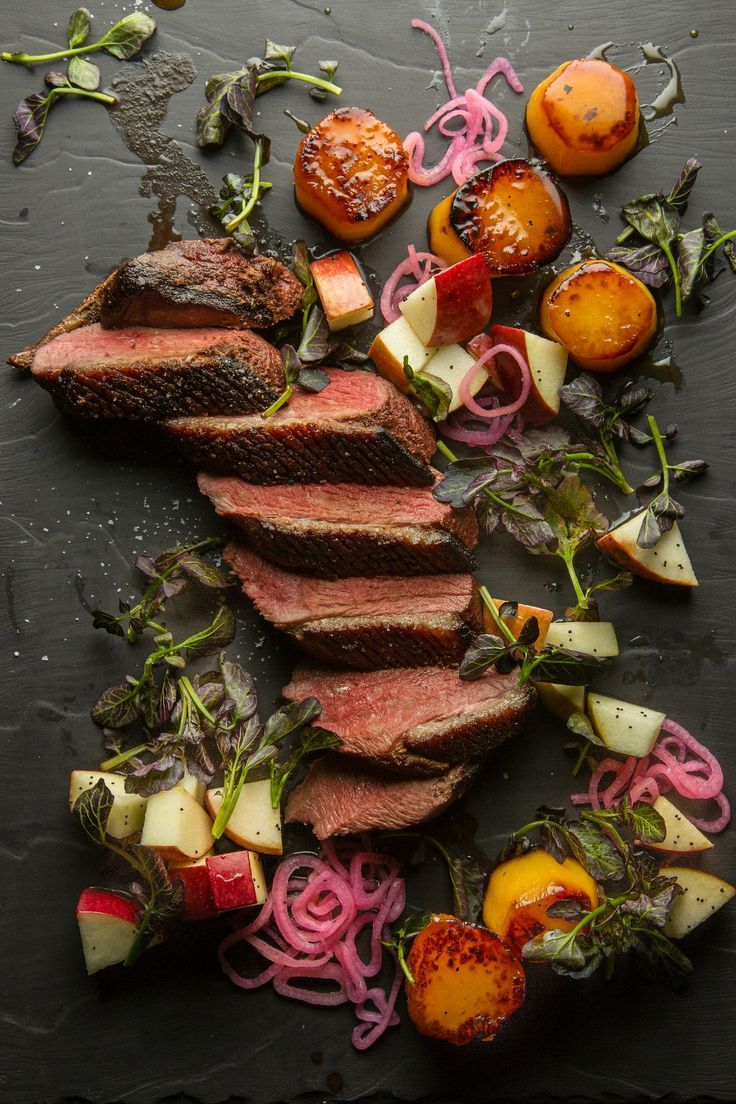 Sear duck breast and serve with glazed sweet potatoes for an elegant dinner.