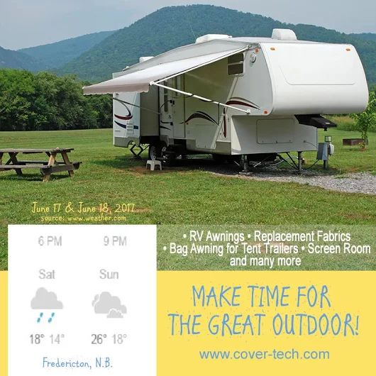 It's Friday, time to go make stories for Monday! Don't let the bad weather stop you from enjoying your weekend with your loved ones! And don't forget it's Father's Day on Sunday!   http://www.cover-tech.com/rv-awnings  #Weather #Weekend #Nature #RV #Camping #RVawnings #TentTrailers #BagAwnings #ReplacementFabrics #AddARoom #Trimline #SunKit #FamilyTime #FridayNight #FeelGoodFriday #FollowFriday #FF #FeatureFriday #Friyay #FridayVibes #FridayFeeling #TGIF