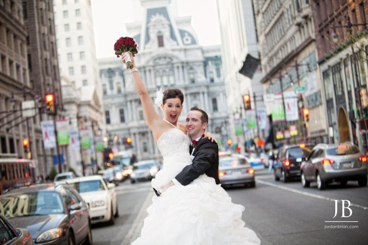 Amanda & Dave's bridal portraits in front of City Hall before their wedding at Ballroom at the Ben in Philadelphia, PA. Photos by Jordan Brian Photography. www.jordanbrian.com
