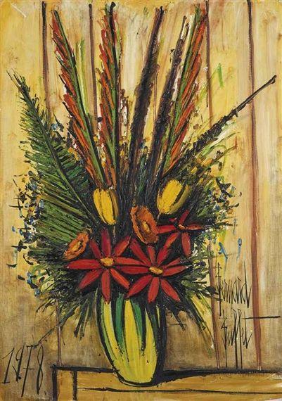 Bernard Buffet - Bouquet au vase jaune et vert; Creation Date: 1978; Medium: oil on canvas; Dimensions: 45.88 X 32 in (116.52 X 81.28 cm)