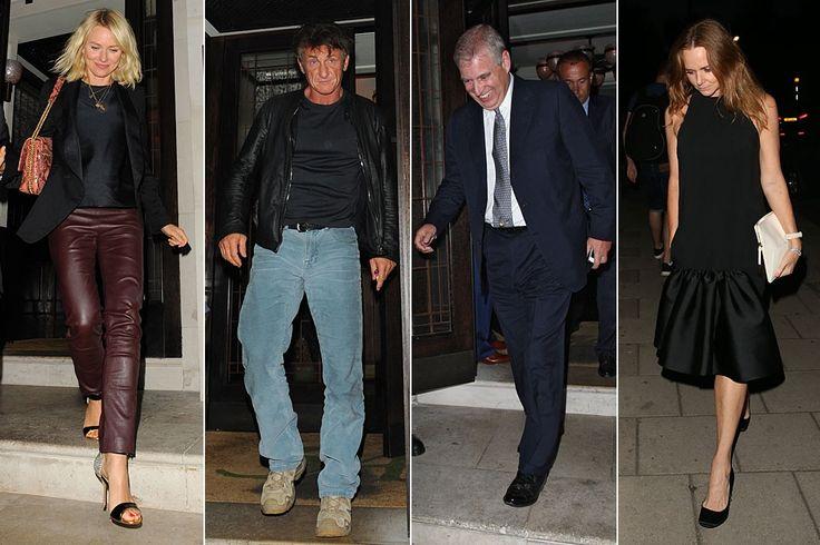 Todos a cenar. Naomi Watts (i) recordó anoche viejos tiempos con Sean Penn (2i), su compañero de reparto en '21 Gramos', en el restaurante 34 de Londres. Se da la circunstancia de que la actriz -a punto de estrenar la película en la que interpreta a Diana de Gales- coincidió en el local con el que fuera cuñado de Lady Di, el príncipe Andrés (2d). También estaba en el restaurante Stella McCartney (d), de cena familiar.