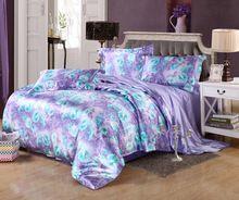 Европейской роскоши фиолетовый цветочный принт шелковый атлас постельных принадлежностей королева жаккард постельное белье пододеяльник комплект(China (Mainland))