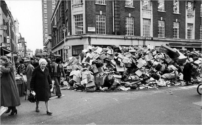 Uncollected garbage piled up on the streets of London during a sanitation strike in 1979.