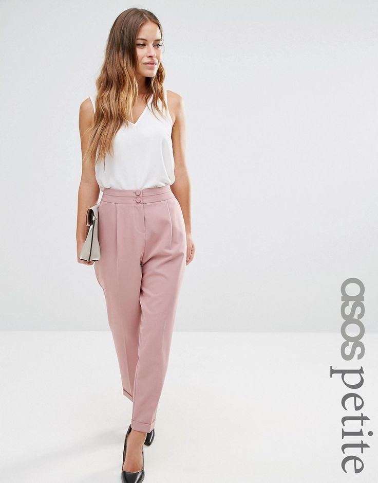 Image 1 ofASOS PETITE Tailored High Waisted Trousers with Turn Up Detail