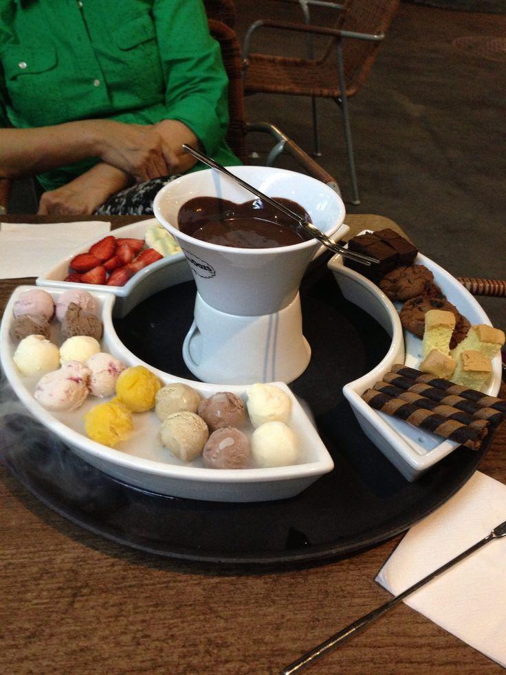 Chocolate fondue courtesy of haagen dazs cafe at grand