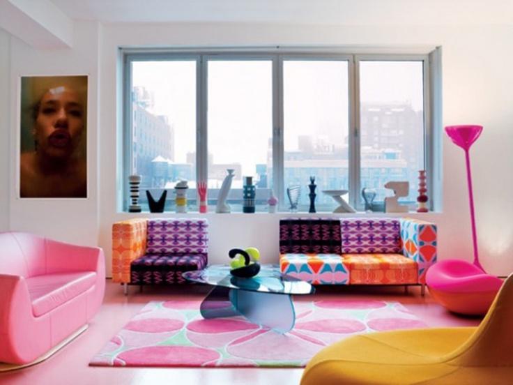 Pink and pattern /  Karim RashidLiving Rooms, Decor Ideas, Living Room Design, Livingroom, Interiors Design, Colors House, Colors Interiors, Karim Rashid, House Decor