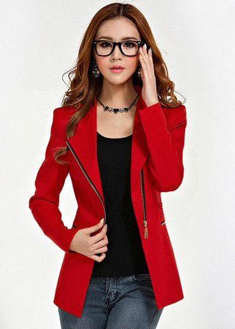 Zipper Fly Long Sleeve Blazers for Women – teeteecee - fashion in style
