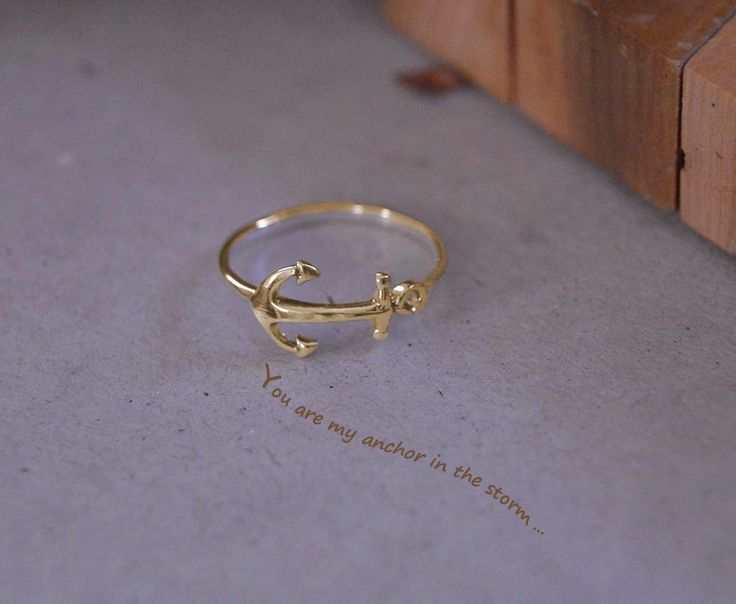Minimalist solid gold anchor ring, 10K solid gold anchor midi ring,Pink anchor ring solid gold, White gold 10k anchor ring,Celebrity anchor. by Gvantsasfinedesigns on Etsy