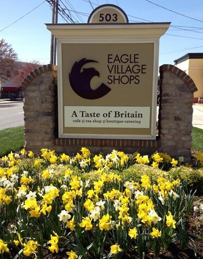 Beautiful daffodils surrounding our sign on Lancaster Avenue - taken on Easter day, 2014.