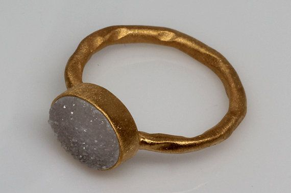 Raw White Druzy Ring Natural White Druzy Ring by Geminmind on Etsy