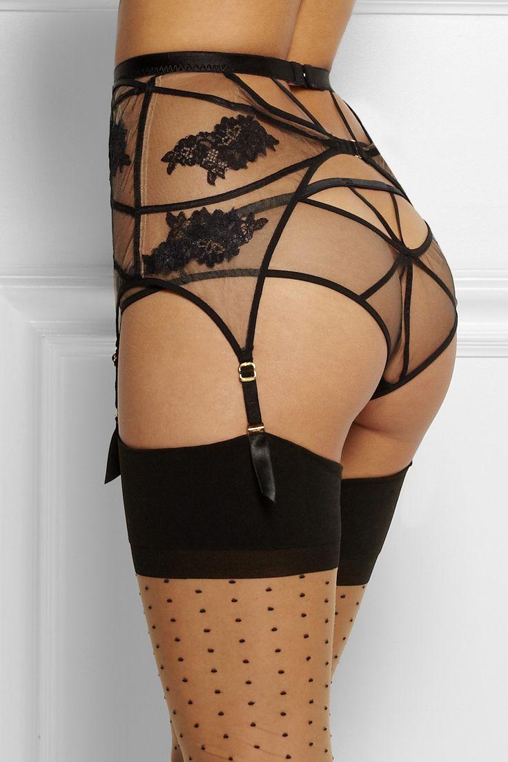 Agent Provocateur|Demelza lace-appliquéd tulle suspender belt|NET-A-PORTER.COM