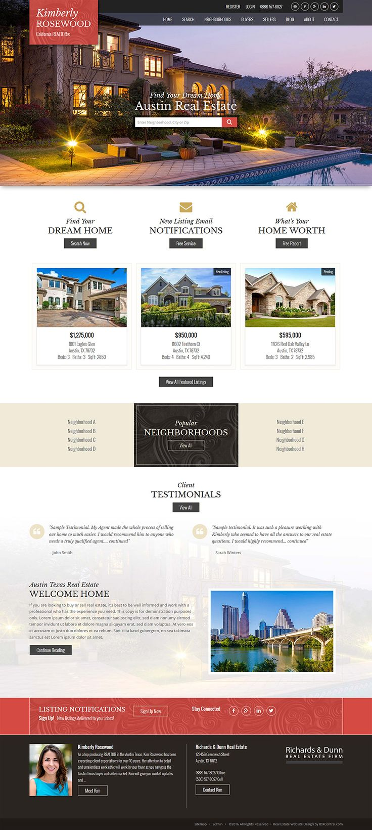 Semi Custom Website Design - Austin - Our Austin Theme in Red with scroll background for an elegant touch. Choose from our selection of responsive real estate website designs built on WordPress. Offering IDX sales and integration, website training and support. Details at www.IDXCentral.com