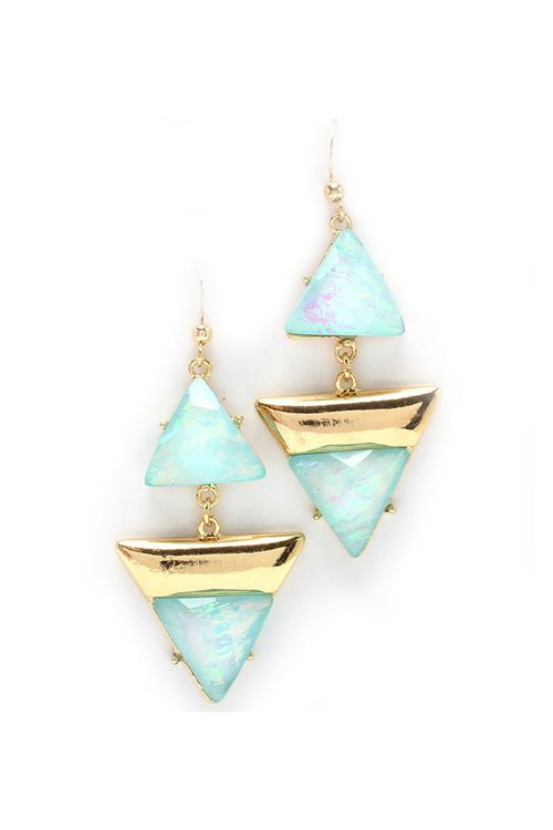 I've been looking for some cool triangle shaped earrings! Prussian Blue Madge Earrings on Emma Stine Limited