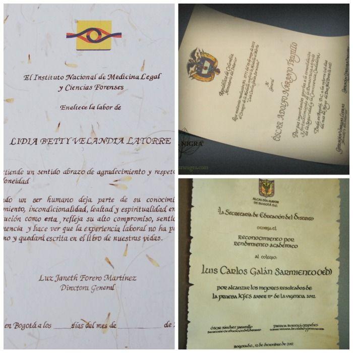 Varios diplomas Caligrafiados