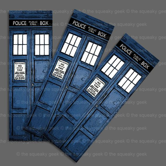 """Digital Artwork Bookmark featuring the Doctor's TARDIS from the UK BBC Sci Fi Series """"Doctor Who"""". ©spookyisland : The Squeaky Geek"""