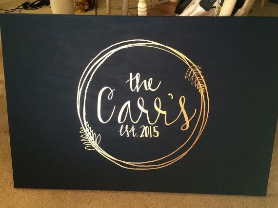Wedding Canvas Guest Book Customized Last by CarrazyCuteCanvas