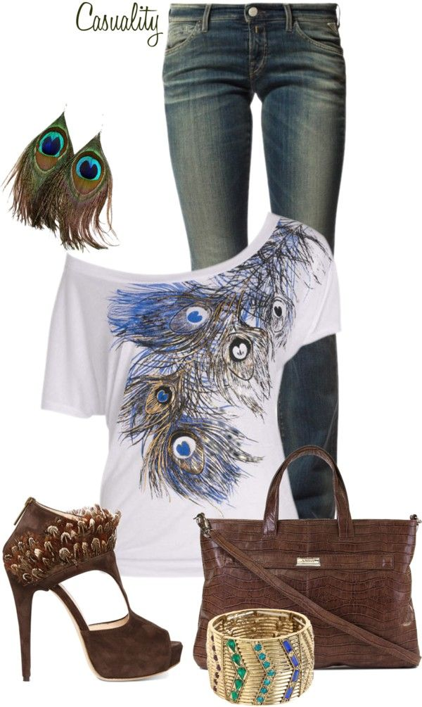 """""""Peacock Earrings"""" by casuality ❤ liked on Polyvore"""