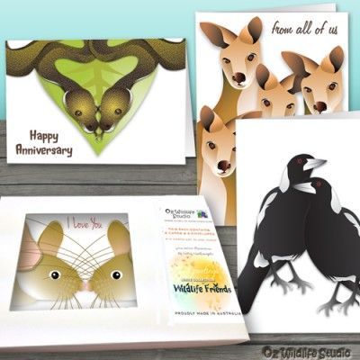 """There are three themes available within the white collection """"Solo Performers"""", """"Wildlife with Young"""" and """"In Love"""" and you may choose any designs to make up the 8 cards."""