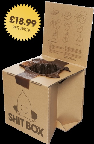 Good GOD!! Shit Box is a lightweight portable cardboard toilet, made specifically for outdoor use. The box pops up from a convenient 14 inch flat pack to a rigid, reusable, comfortable toilet. Each box comes with ten degradable waste bags