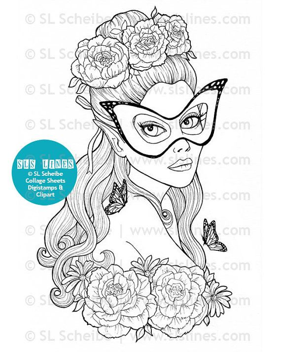 Adult Coloring Book PDF Pretty Ladies Beautiful Women Printable Pages Of For Adults By SLS Lines 14