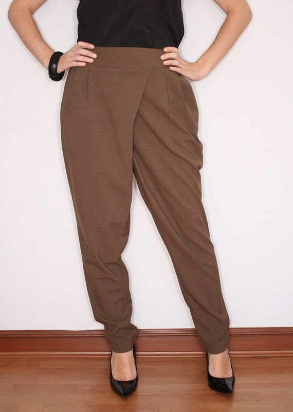 Unique Brown Cigarette Pants Slim Fit Skinny Trousers For Women Off
