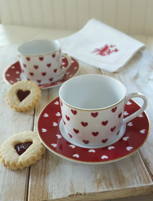 Who wouldn't be smitten by these lovely cups and saucers covered with little red and white hearts? I am in love with these larger cups because they are so fun, but they are the perfect size for cappuccino