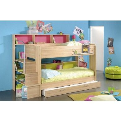 The Bi-Bop bunk beds have design features to make them contemporary and practical. Both top and bottom bunks have bedside shelving for books and drinks. The steps are open to allow storage of books and storage boxes beneath.