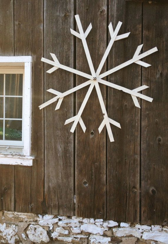 Make Ahead- Large Glittery White Wooden Snowflake by BlackBellFarm on Etsy