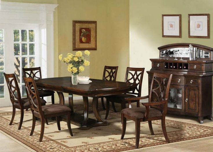 Acme 7 Pc Keenan II Collection Dark Walnut Finish Wood And Fabric Padded Seats Center Pedestal Dining Table Set
