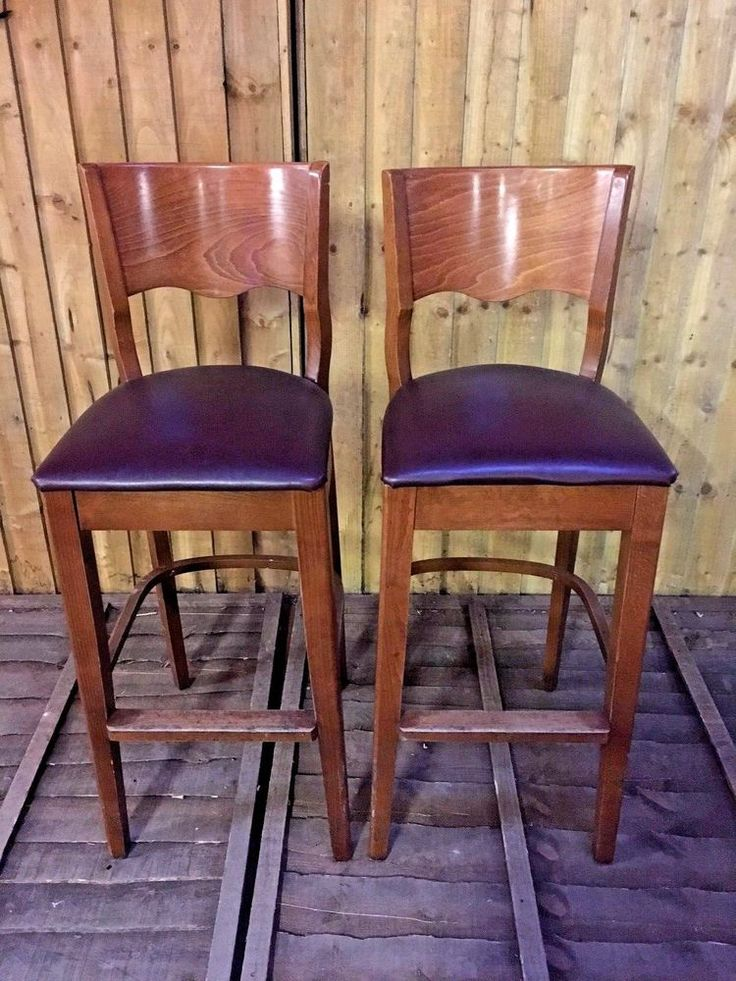 PAIR OF TALL BAR STOOLS / BROWN SEAT PADS / PUB / BAR / HOME  / SOLID WOOD #Unbranded