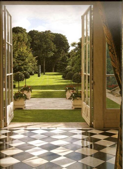 lovely garden view, French doors, black and white floor