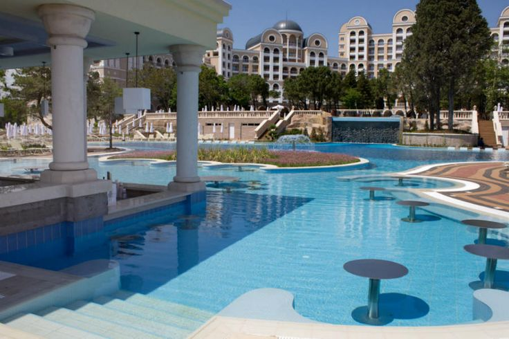Pool area and pool bar at clubhotel riu helios paradise - Sunny beach pools ...