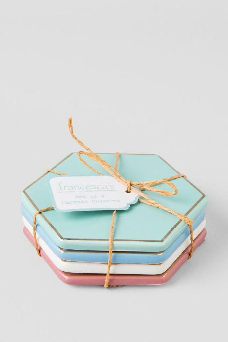 Ceramic Pastel Drink Coasters Set $16.00