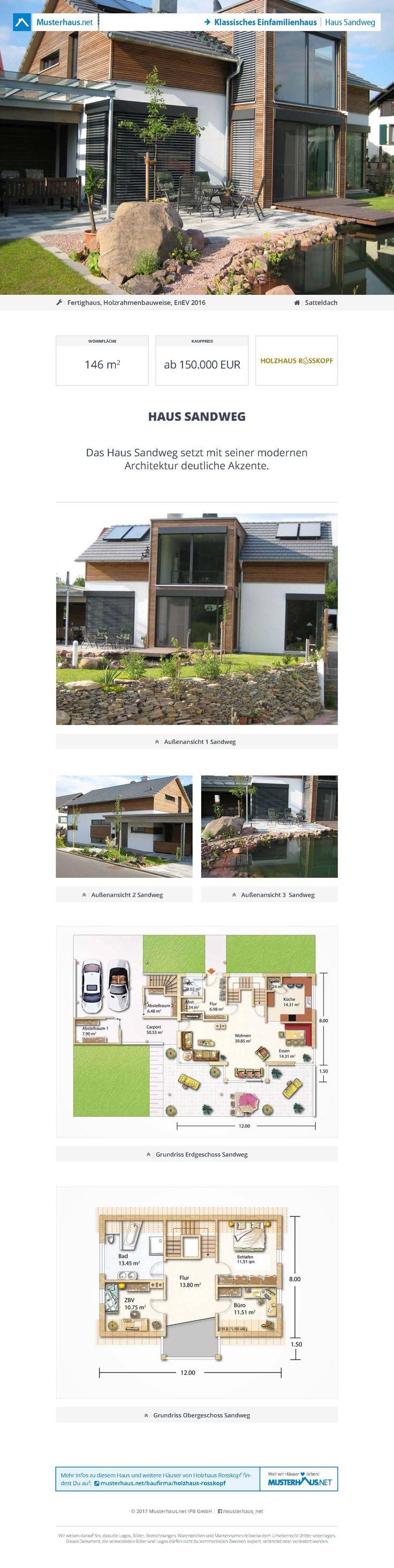 Haus Sandweg • Fertighaus von Holzhaus Rosskopf • Modernes Energiesparhaus mit großzügiger Verglasung und schönem Galeriebereich