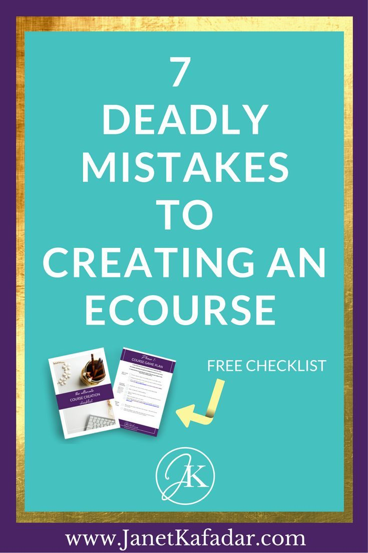 Discover the 7 deadly 'crimes against online course creation' (mistakes) I see infopreneurs make before creating their online course. Find out how you can kick your course creation woes to the curb and get started right away > http://www.janetkafadar.com/7-deadly-mistakes-creating-online-courses/