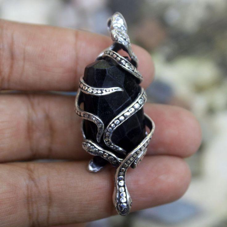 925 Sterling Silver Bali Handmade Snake on Black Onyx 55mm Pendant Necklace PS32