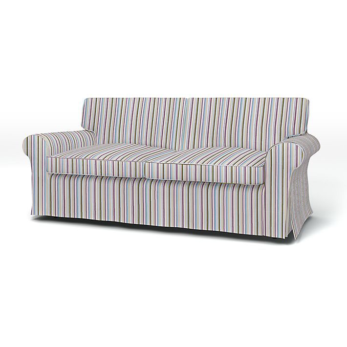 Ektorp, Sofa Covers, 2 Seater Sofa Bed, Regular Fit using the fabric Prisma Stripe  Egg Shell Blue
