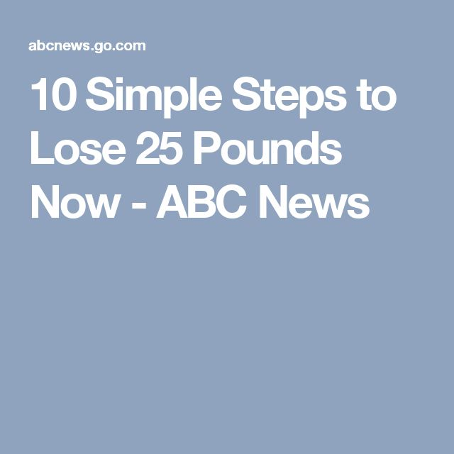 10 Simple Steps to Lose 25 Pounds Now - ABC News