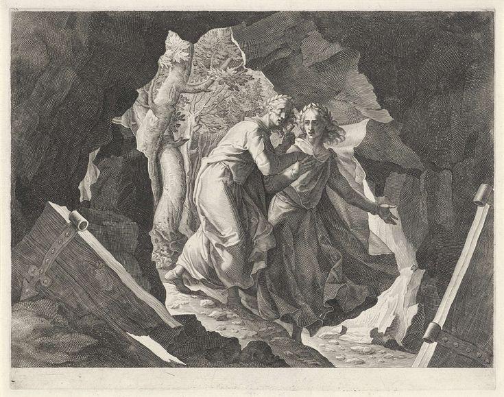Aegidius Sadeler | Dante en Vergilius betreden de hel door een poort, Aegidius Sadeler, Giacomo Ligozzi, 1580 - 1629 | Dante en Vergilius in de grot die leidt naar de hel. Beiden zijn gekleed in Griekse toga's met lauwerkransen op het hoofd.