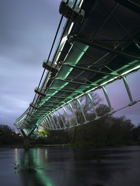 the Living Bridge at the University of Limerick.  it's absolutely beautiful at night when it's lit up like this